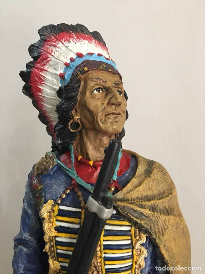 Arte: FIGURA DE INDIO APACHE AMERICANO EN RESINA- GRAN TAMAÑO - Foto 8 - 117535239