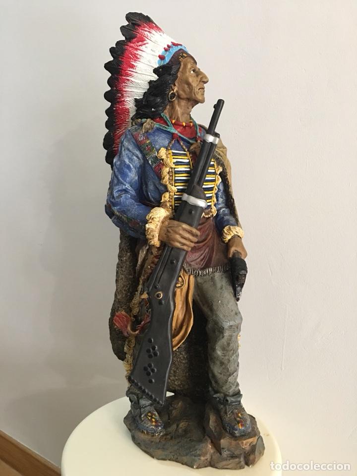 Arte: FIGURA DE INDIO APACHE AMERICANO EN RESINA- GRAN TAMAÑO - Foto 9 - 117535239