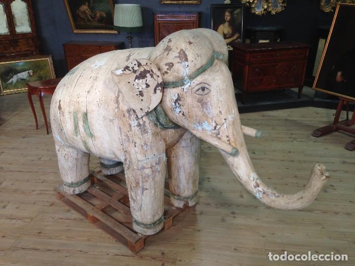 ANTIGUA ESCULTURA INDIANA 'ELEFANTE' DEL XIX SIGLO (Arte - Escultura - Madera)