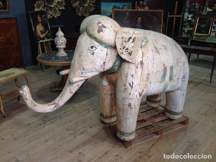 Arte: Antigua escultura indiana 'Elefante' del XIX siglo - Foto 2 - 117857387