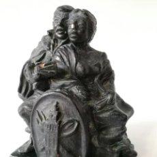 Arte: J. BALLESTEROS - ESCULTURA EN TERRACOTRA - HOMBRE CON MANDOLINA Y MUJER - ESCUDO GIRALDA. Lote 117948307