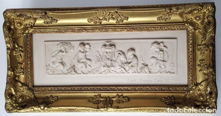 PIEZA NEOBARROCA EL ESCULTOR EMILE-ANDRE BOISSEAU(1842-1923)BAJORELIEVE EN MARMOL FECHADO PARIS 1872 (Arte - Escultura - Piedra)