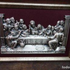 Arte: CUADRO DE LA ULTIMA CENA DE METAL PLATEADO. Lote 119022271