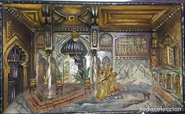 ANTIGUO DIORAMA DE MADERA TALLADA - INTERIOR ESCENA ARABE - FIRMADO R. VALDOR CIRCA 1920-30 (Arte - Escultura - Madera)