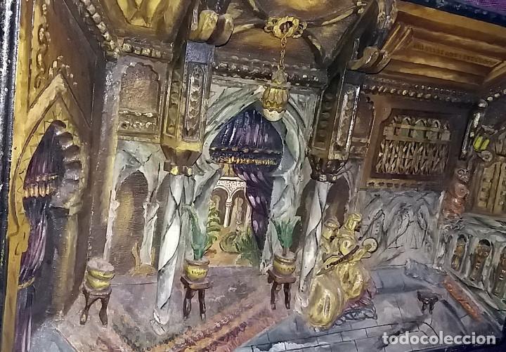 Arte: ANTIGUO DIORAMA DE MADERA TALLADA - INTERIOR ESCENA ARABE - FIRMADO r. valdor CIRCA 1920-30 - Foto 3 - 119202839