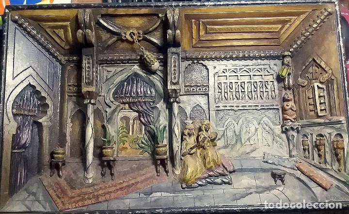 Arte: ANTIGUO DIORAMA DE MADERA TALLADA - INTERIOR ESCENA ARABE - FIRMADO r. valdor CIRCA 1920-30 - Foto 10 - 119202839