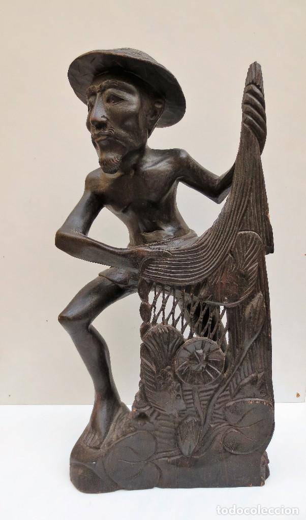 TALLA DE MADERA - PESCADOR ORIENTAL - 37CM DE ALTURA (Arte - Escultura - Madera)
