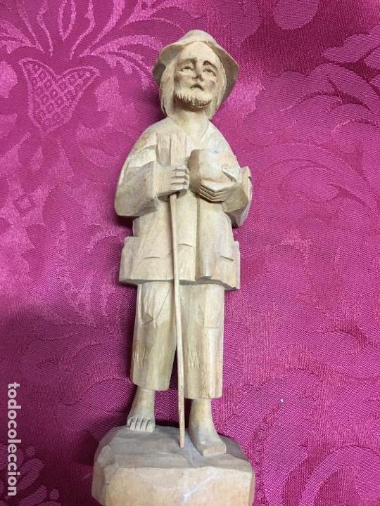 IMAGEN TALLA DE MADERA PASTOR PARA PORTAL DE BELEN - MEDIDA 18 CM - RELIGIOSO (Arte - Escultura - Madera)