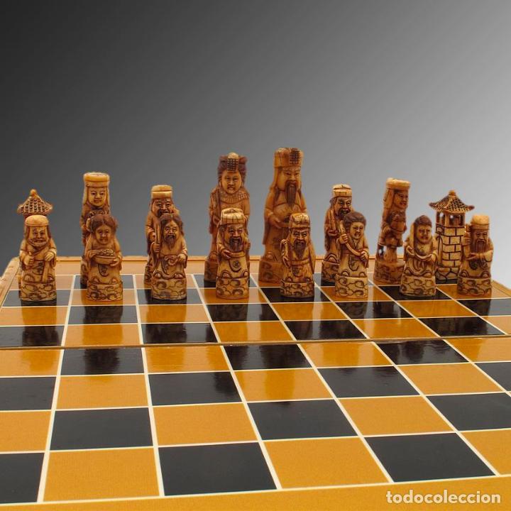 Arte: Juego de ajedrez hecho en hueso tallado y estuche tablero de madera. - Foto 2 - 120178247