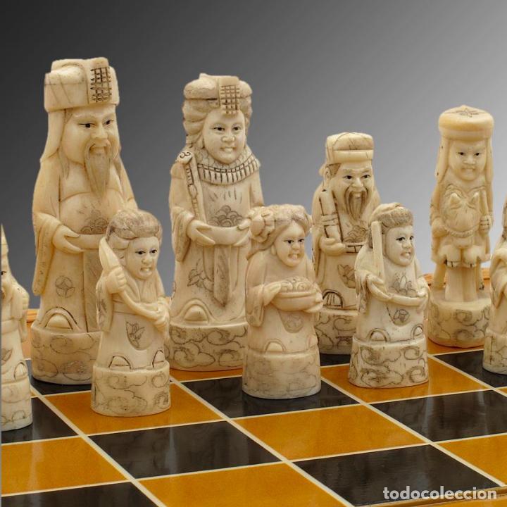 Arte: Juego de ajedrez hecho en hueso tallado y estuche tablero de madera. - Foto 4 - 120178247