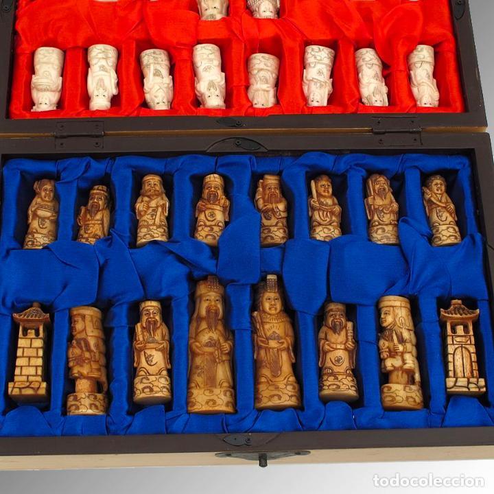 Arte: Juego de ajedrez hecho en hueso tallado y estuche tablero de madera. - Foto 6 - 120178247