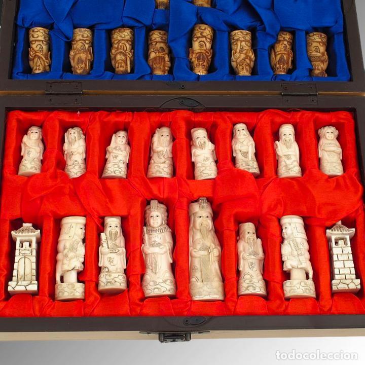 Arte: Juego de ajedrez hecho en hueso tallado y estuche tablero de madera. - Foto 7 - 120178247