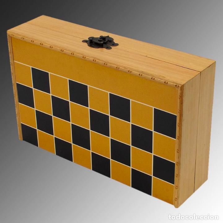 Arte: Juego de ajedrez hecho en hueso tallado y estuche tablero de madera. - Foto 9 - 120178247