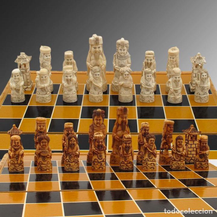 Arte: Juego de ajedrez hecho en hueso tallado y estuche tablero de madera. - Foto 10 - 120178247