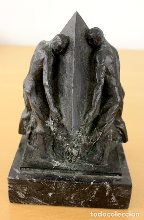 ESCULTURA EN BRONCE PERFILES DE ENERGIA. JOSE BORLAF. ENCARGO DE PETRONOR, AÑO 1985 (Arte - Escultura - Bronce)