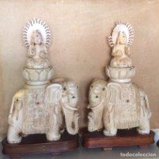 Arte - 2 piezas elefante con Dios hindu en marfil - 121177688