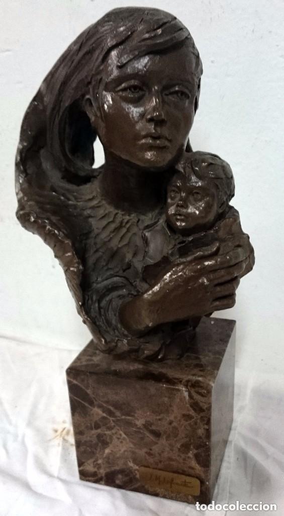 Arte: Escultura de L.M. Lafuente. De bronce y terracota, firmada y numerada. Maternidad.34 cm de alto. - Foto 2 - 121321791