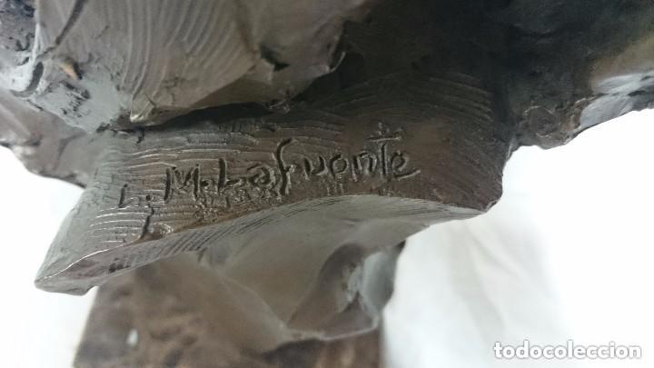 Arte: Escultura de L.M. Lafuente. De bronce y terracota, firmada y numerada. Maternidad.34 cm de alto. - Foto 4 - 121321791