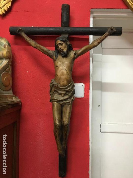 FANTASTICA TALLA MADERA CRISTO CRUCIFICADO SIGLO XVI ESCUELA CASTELLANA - MEDIDA CRISTO 67X51 CM (Arte - Escultura - Madera)