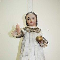 Arte: ANTIGUA TALLA DE MADERA - NIÑO DE LA BOLA. Lote 121720023