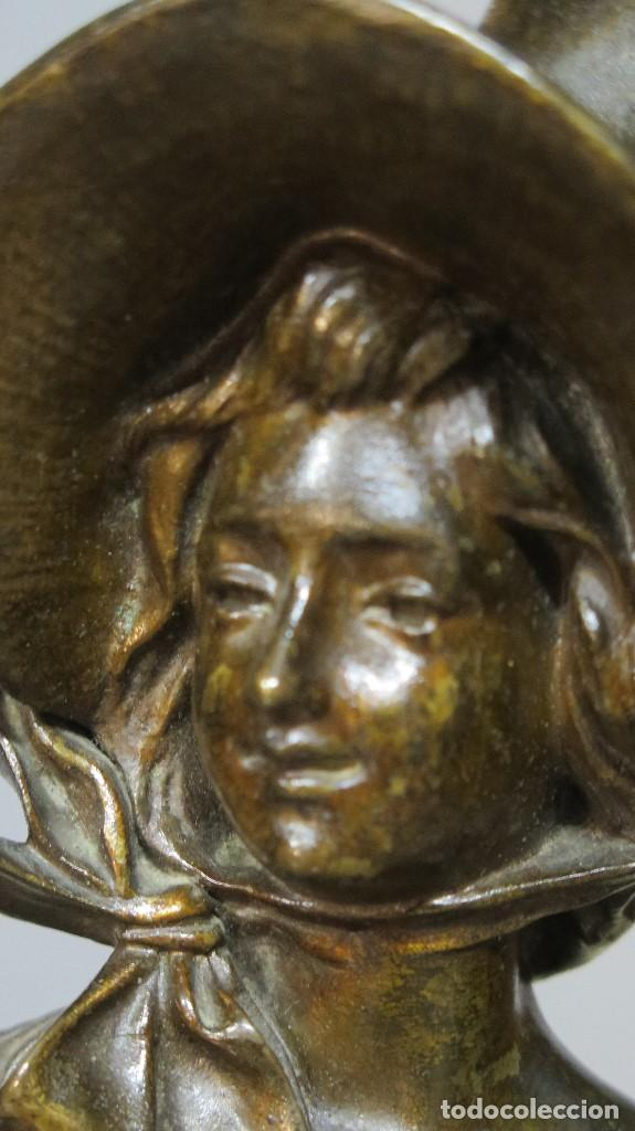 Arte: GRAN BUSTO DE MUJER BRONCE PATINADO. ART NOUVEAU. Georges Charles Coudray (French, 1883-1903) - Foto 3 - 122100691