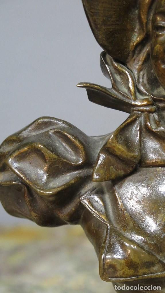 Arte: GRAN BUSTO DE MUJER BRONCE PATINADO. ART NOUVEAU. Georges Charles Coudray (French, 1883-1903) - Foto 4 - 122100691