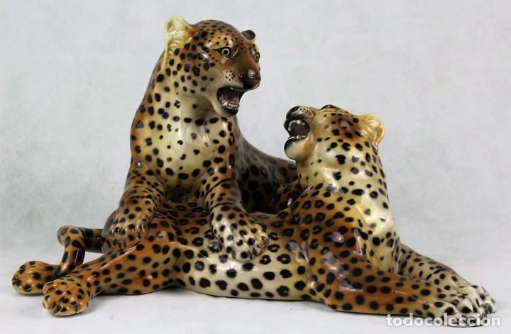 Kunst: Cerámica de Ronzán,Italia,leopardos,perfecto estado,40 x 25 x 25 cm - Foto 2 - 122194771