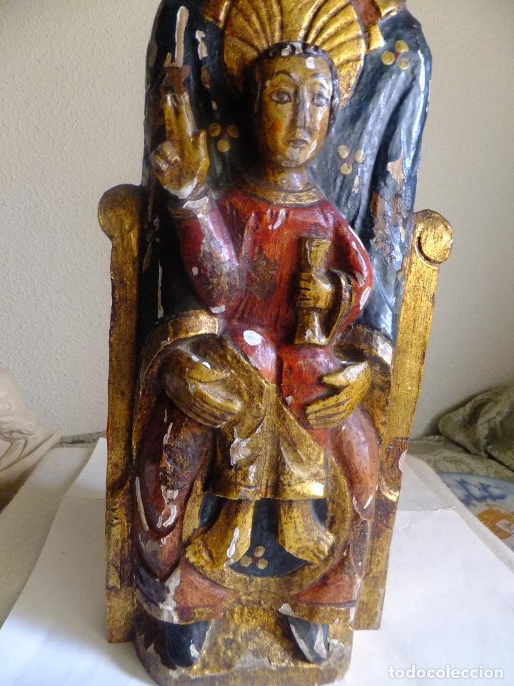 Arte: Escultura de talla Virgen sedente con el Niño Jesus siguiendo modelo romanica. - Foto 3 - 122234411