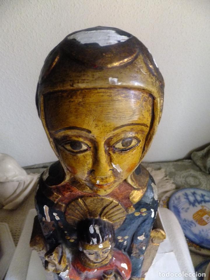 Arte: Escultura de talla Virgen sedente con el Niño Jesus siguiendo modelo romanica. - Foto 8 - 122234411