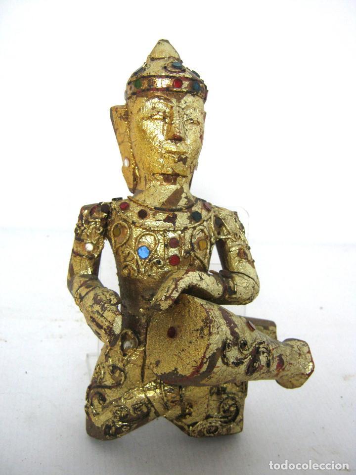 BUDA SHIVA - TALLA DE MADERA DORADA - FILIGRANA CON CRISTALES (Arte - Escultura - Madera)