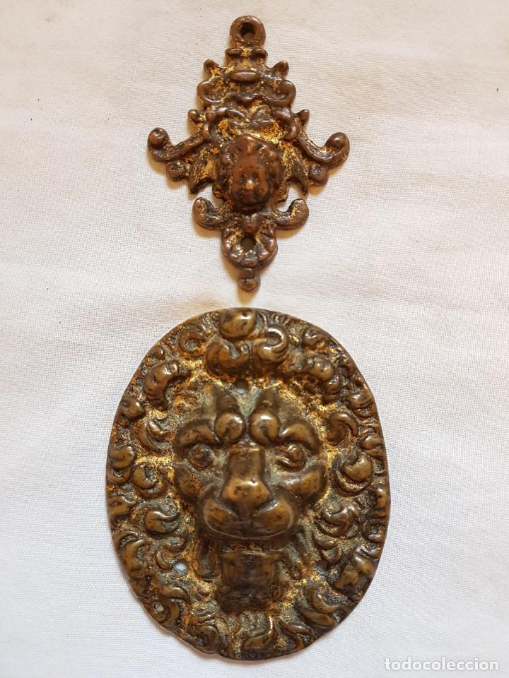 APLIQUE BRONCE Y ÁNGEL. SIGLO XVII-XVIII (Arte - Escultura - Bronce)