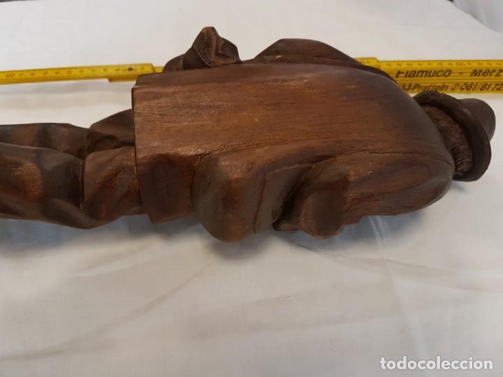 Arte: IMPRESIONANTE Y ANTIGUA ESCULTURA SIGLO XIX TALLA EN MADERA 41 cm ANCIANO TOCANDO EL VIOLÍN - Foto 15 - 122563695