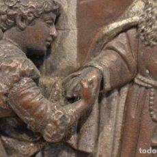 Arte: RELIEVE DE PELTRE, COBRE Y DETALLES PLATA CON ESCENA ROMÁNTICA MEDIADOS SIGLO XIX.. Lote 122583211