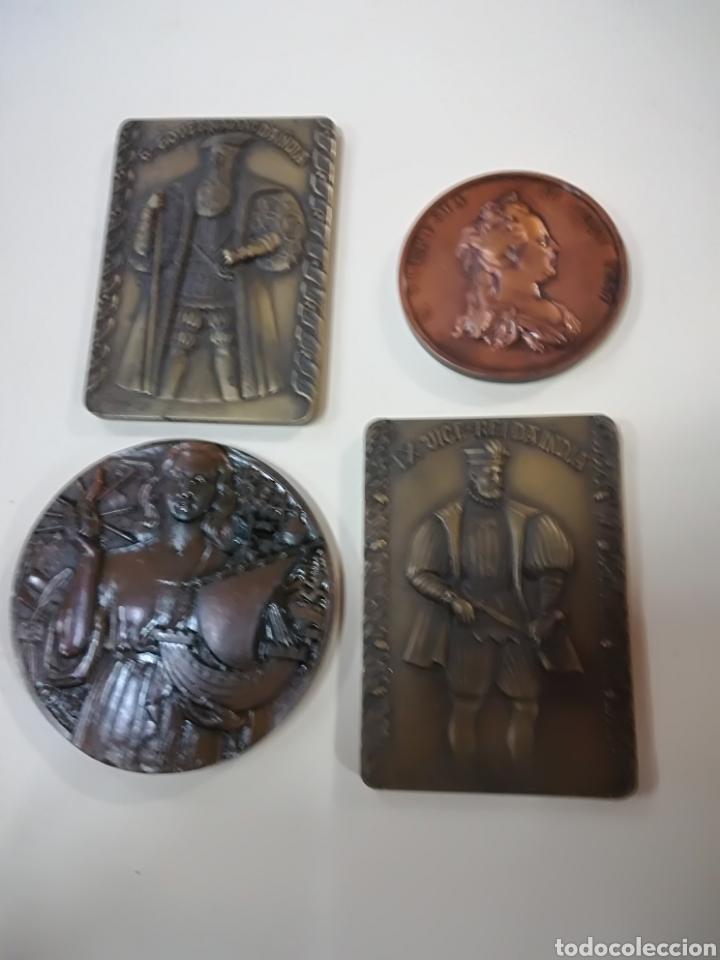 4 MEDALLAS DE BRONCE COMEMORATIVAS (Arte - Escultura - Bronce)