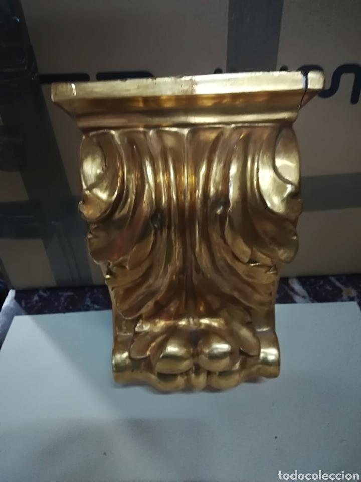Arte: Zapata de madera dorada oro fino principio xx - Foto 5 - 124946946