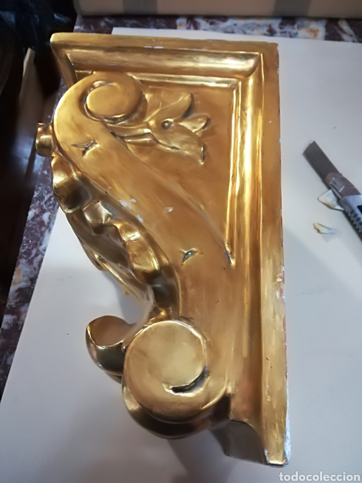 Arte: Zapata de madera dorada oro fino principio xx - Foto 7 - 124946946