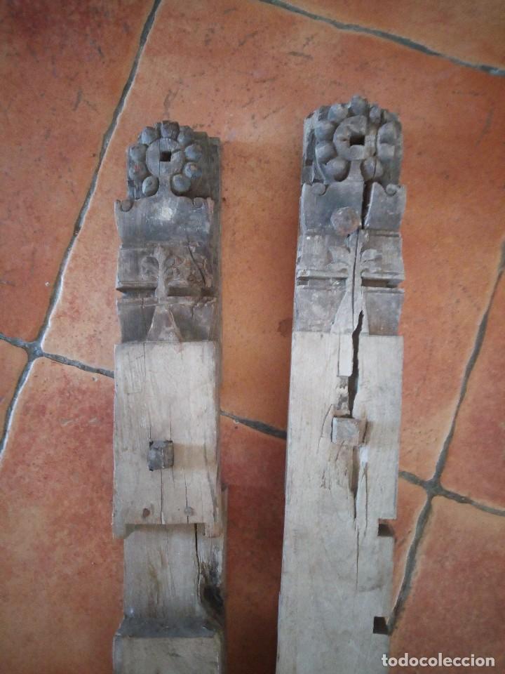 Arte: Lote de 2 tallas de madera indues,para decoración ,siglo xix - Foto 2 - 125094519