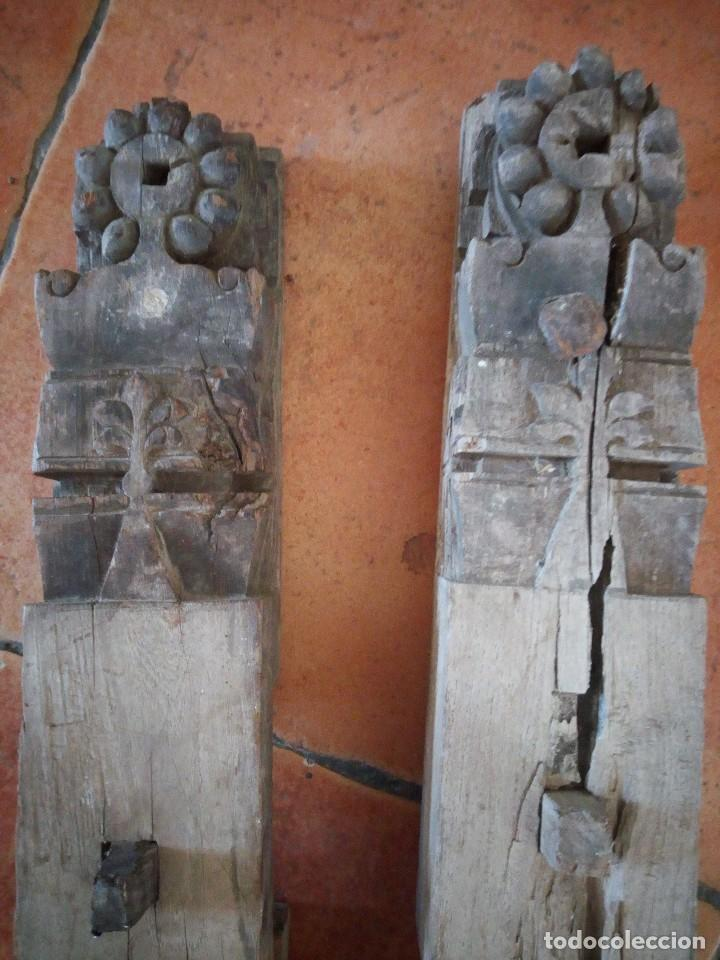 Arte: Lote de 2 tallas de madera indues,para decoración ,siglo xix - Foto 3 - 125094519