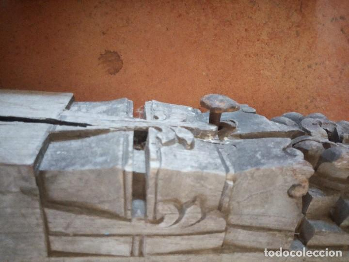 Arte: Lote de 2 tallas de madera indues,para decoración ,siglo xix - Foto 4 - 125094519