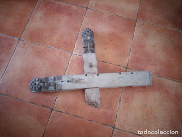 Arte: Lote de 2 tallas de madera indues,para decoración ,siglo xix - Foto 6 - 125094519