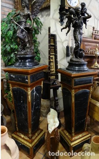 PAREJA DE ESTÍPITES, COLUMNAS, PEDESTAL DE MÁRMOL, MADERA, BRONCES. (Arte - Escultura - Bronce)