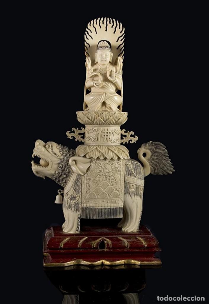 Arte: Importante pareja de Guan Yin sobre Foo, esculturas en Marfil tintado, China, Siglo XIX - Foto 4 - 126488143