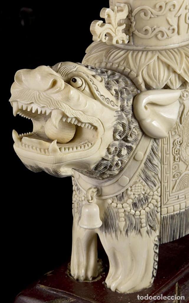 Arte: Importante pareja de Guan Yin sobre Foo, esculturas en Marfil tintado, China, Siglo XIX - Foto 7 - 126488143