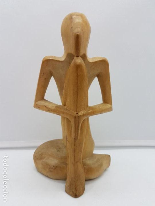 HERMOSA ANTIGUA ESCULTURA INDIA ABSTRACTA, MEDITACIÓN, TALLADA EN MADERA. (Arte - Escultura - Madera)