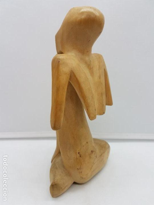 Arte: Hermosa antigua escultura india abstracta, meditación, tallada en madera. - Foto 3 - 126757739