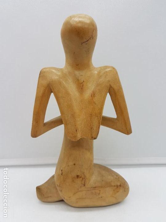 Arte: Hermosa antigua escultura india abstracta, meditación, tallada en madera. - Foto 4 - 126757739