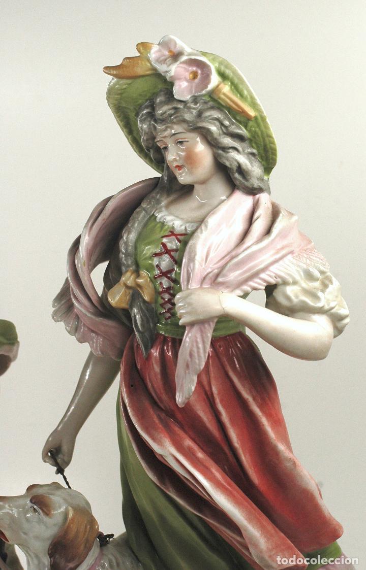 Arte: Pareja figuras de porcelana, finales siglo XIX. - Foto 2 - 127921955