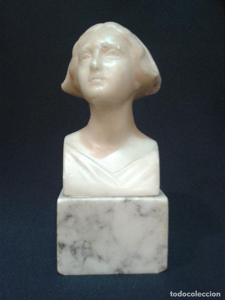 BUSTO MUJER. ALABASTRO. HESSIAN MORSCHEN. ART NOUVEAU. PRINCIPIOS DEL SIGLO XX. (Arte - Escultura - Alabastro)