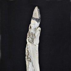 Arte: IMPORTANTE ESCULTURA DE GUAN YIN 52 CM., EN MARFIL TALLADO A MANO Y TINTADO, CHINA, SIGLO XIX. Lote 154583590