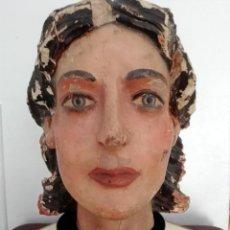 Arte: CABEZA TALLA MADERA POLICROMADA S.XVIII. Lote 129263555